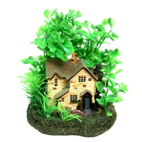 Ornament Cottage With Plants 10x10x12cm
