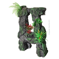 Ornament Stone Arch With Plastic Plants Med Lg 28.5x16.5x40.5cm