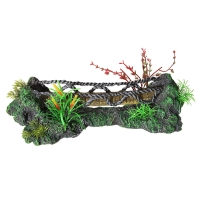 Ornament Faux Wooden Bridge With Plastic Plants 34x13.5x9.5cm