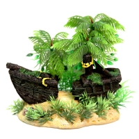 Ornament Shipwreck With Palm Tree 14x9x13
