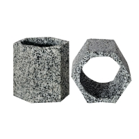 Ornament Hex Cave Resin 8x7x8cm Granite