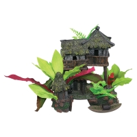 Ornament Jungle House w/Plants 20 x 13 x 19cm