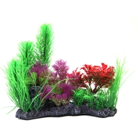 Planter Mixed Plants on Rock Red/Green 26x12x21cm
