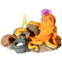 Ornament Octopus W/vases Orange 16x13x10cm