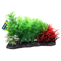 Planter Mixed Plants on Rock Green/Red 26x12x16cm