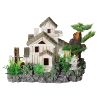 Ornament Cottage With Water Wheel And Bonsai Medium 36x19x21cm