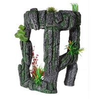 Ornament Stone Arch With Plastic Plants Large 29x20.5x39.5cm