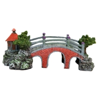 Ornament Bridge With Hut 25x11x11cm