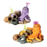 Ornament Octopus W/vases Purple 16x13x10cm