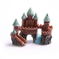 Ornament Castle On The Rock With River Small 15.5x9x13cm