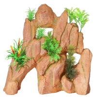 Ornament Realistic Rock With Plastic Plants Large 26x13x26cm