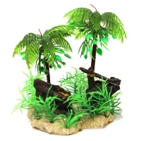 Hermit Crab Palm Tree w/Ship Wreck 9x8x12cm