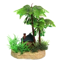 Ornament Mini Cottage With Palm Trees On Rock 9x7.8x14.5cm