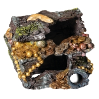 Ornament Treasure Chest With Coins And Eel 14.5x12x12cm