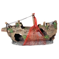 Ornament Ship Wreck With Net Small 23.5x8x11.5cm