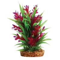 Plastic Plant Red Ludwigia/Green Sword W/gravel Base (M)