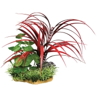 Plastic Plant On Rock Garden No1 Red/Green 13.5 X 9.5 X 20cm