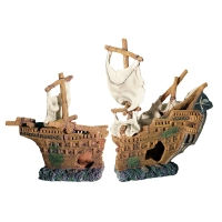 Ornament Shipwreck Galleon (2 Pc) 54x17.5x34cm