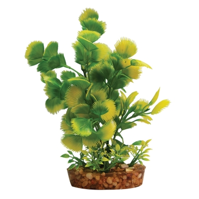 Plastic Plant Yellow Hottonia w/Gravel Base (M)