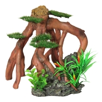 Ornament Mangrove Roots With Bonsai And Plastic Plants 22.5x24x23.5cm