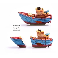 Magnetic Glass Ornament Tug Boat 26.5x8.5x14cm