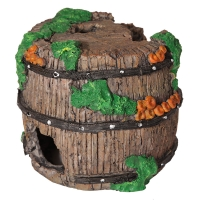Ornament Decaying Wine Barrel With Coral 14x14x13cm