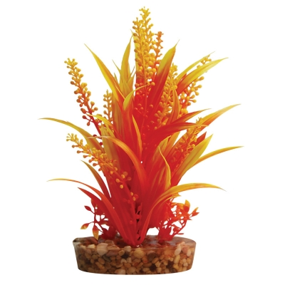 Plastic Plant Orange Cabomba w/Gravel Base (M)