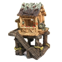 Ornament Hut On Platform (L) 16x15x25cm