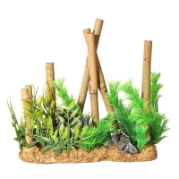 Ornament Short Bamboo With Plastic Plants 21x8x21cm
